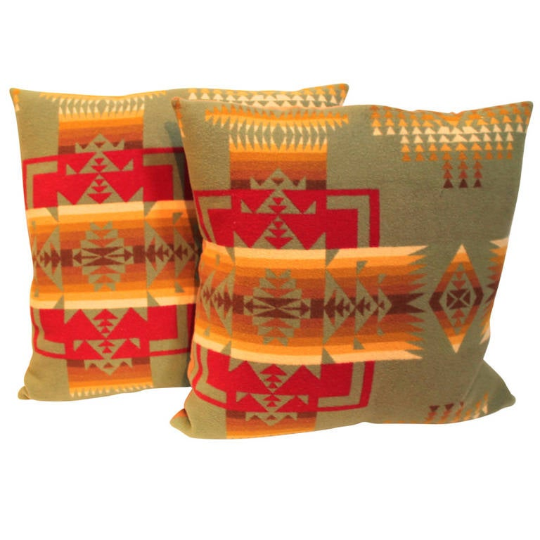 Pair of Pendleton Camp Blanket Pillows For Sale
