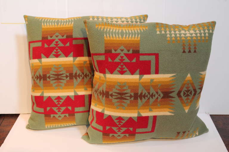 Folk Art Pair of Pendleton Camp Blanket Pillows For Sale