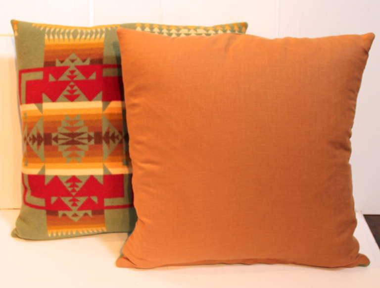 American Pair of Pendleton Camp Blanket Pillows For Sale