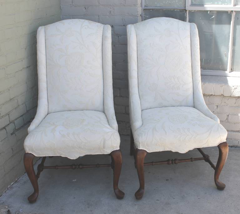 This Pair Of Fantastic Tall Back Queen Anne Style Wing Chairs Are  Upholstered In A Beautiful