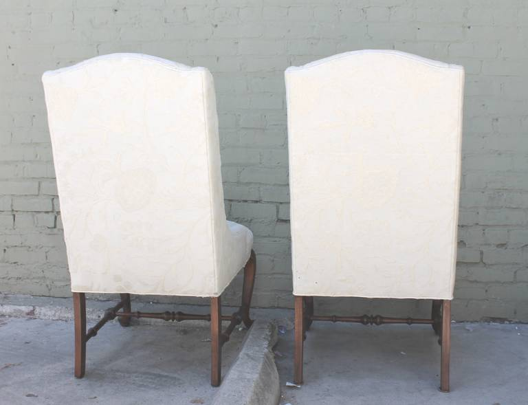 Pair Of Tall Back Wing Chairs Upholstered In Crewel Work Fabric For Sale 3