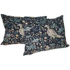 Pair of Pictorial Vintage Indigo Linen Pillows