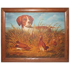 """""""The Hunter"""" Unsigned 20th Century Folk Art Oil Painting"""