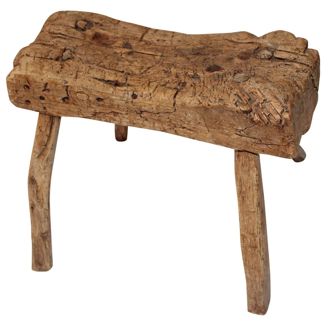 Early Rustic 19th Century Farm House Stool At 1stdibs