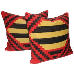 Pair of Geometric Navajo Indian Weaving Pillows