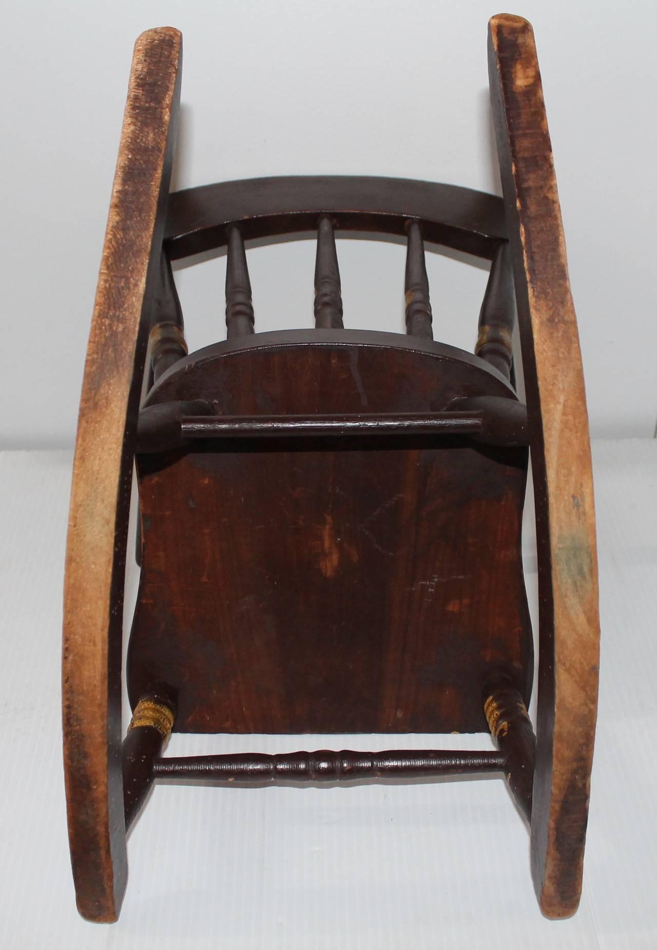 19th Century York County Pennsylvania Original Painted Child 39 S Rocking Chair Image 6