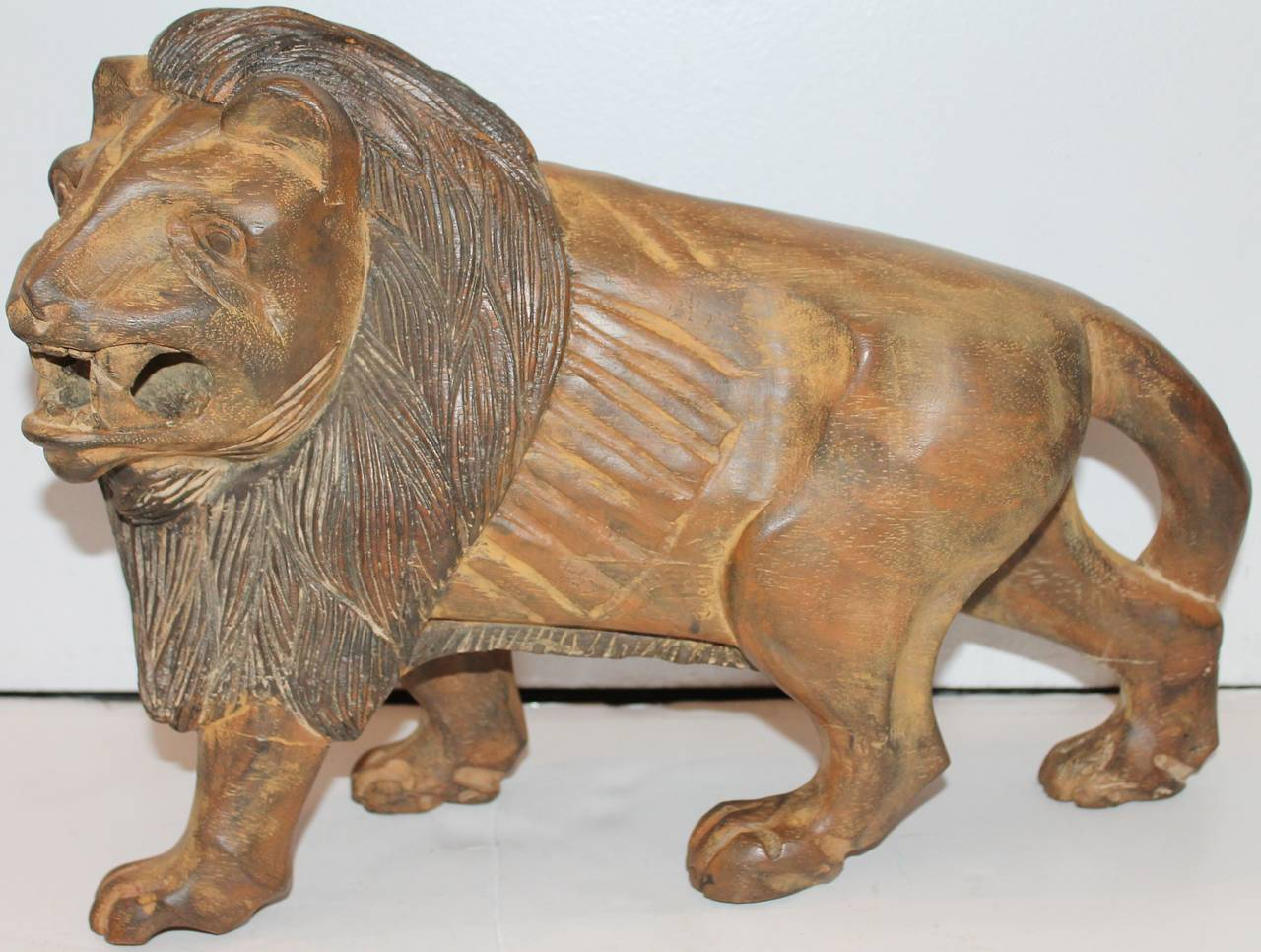 19th century hand carved and painted folky wooden lion at 1stdibs