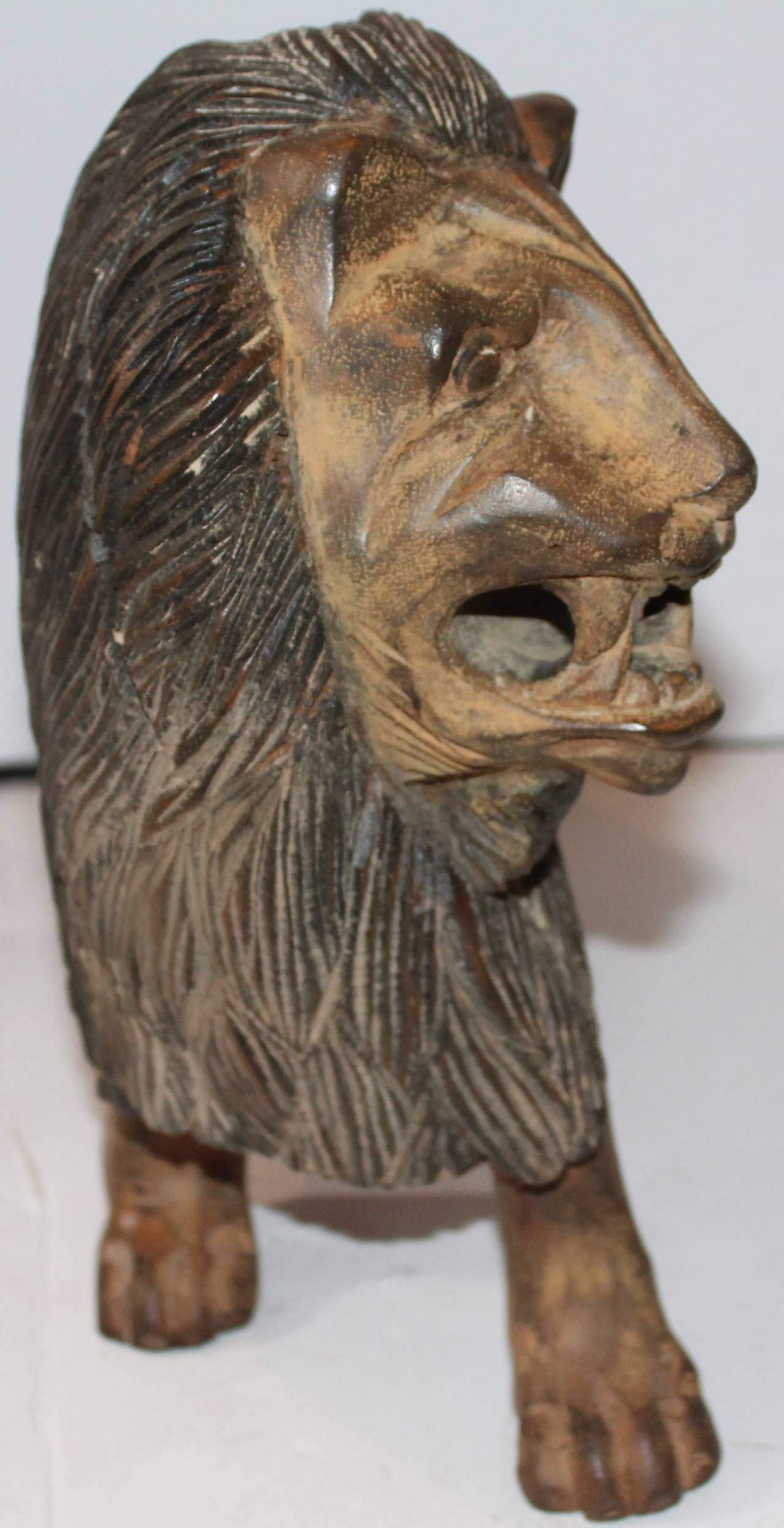 19th Century Hand Carved And Painted Folky Wooden Lion At