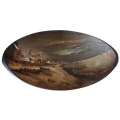 Fantastic 19thc Original Painted Dough Bowl W/winter Snow Scene