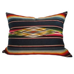 Fantastic Wool Mexican Serape Bolster Pillow With Linen Back