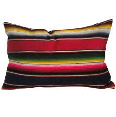 1930's Mexican Serape Wool Bolster Pillow W/linen Backing
