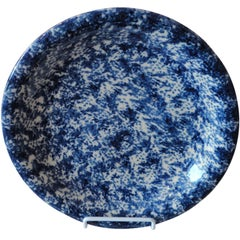 19th Century Blue and White Spongeware Serving Plate