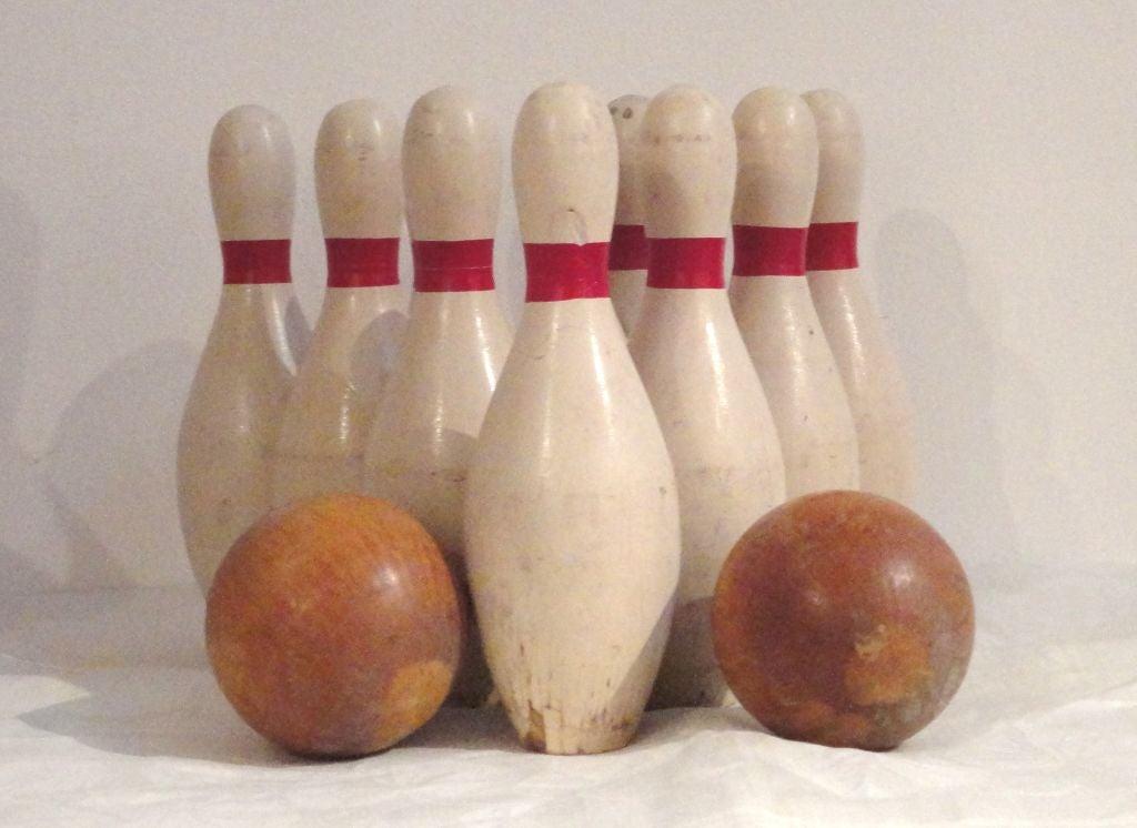 Set Of Ten Bowling Pins W Two Balls At 1stdibs