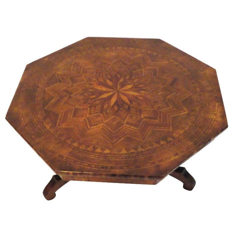 19thc Folky Inlaid Wood Octagonal Small Table At 1stdibs
