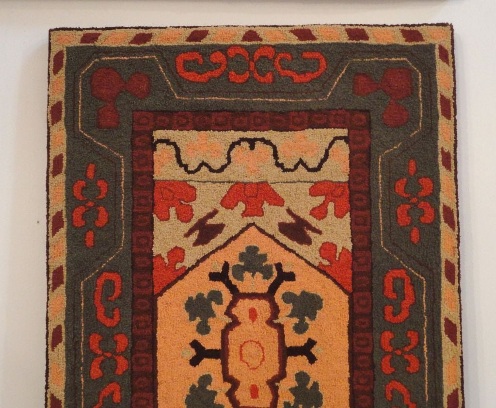 Folk Art Fantastic and Colorful Mounted Hand-Hooked Rug from Lancaster, PA For Sale