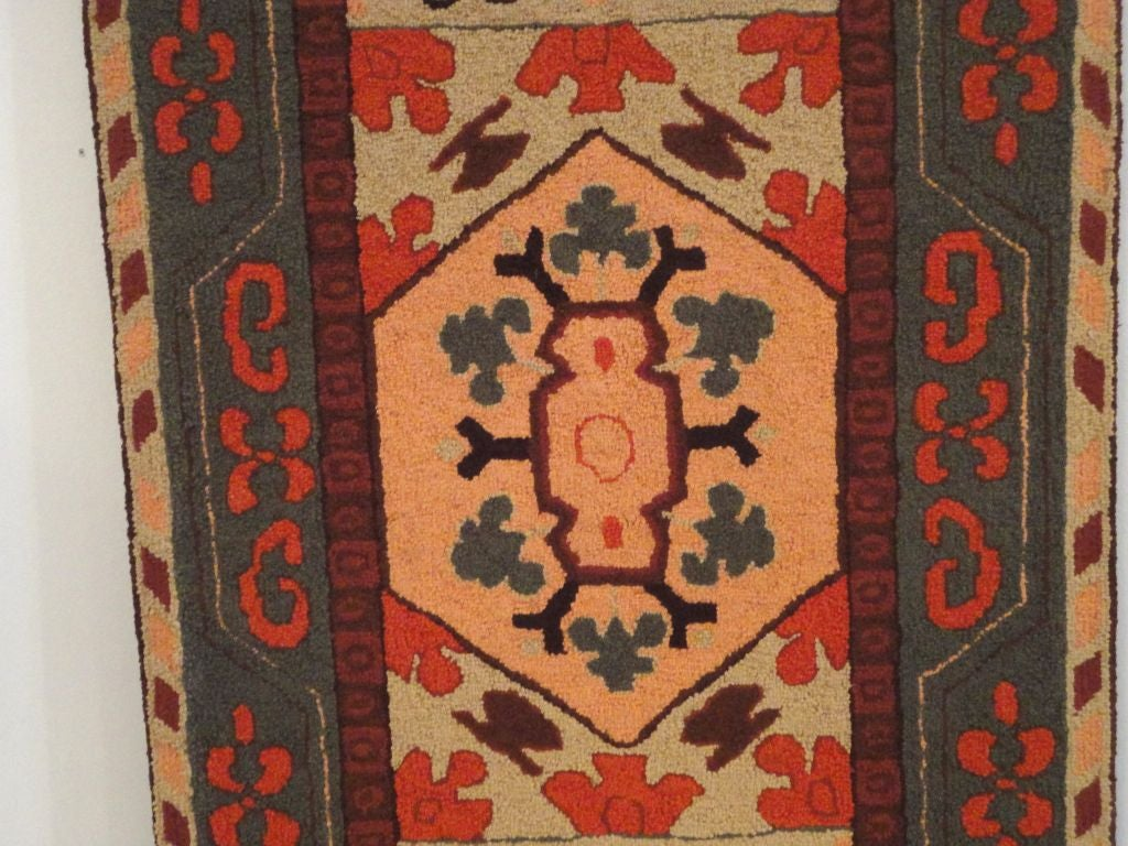 American Fantastic and Colorful Mounted Hand-Hooked Rug from Lancaster, PA For Sale