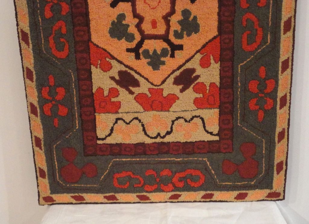Fantastic and Colorful Mounted Hand-Hooked Rug from Lancaster, PA In Good Condition For Sale In Los Angeles, CA