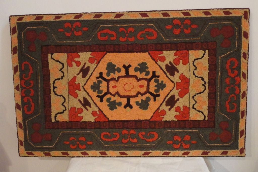 Mid-20th Century Fantastic and Colorful Mounted Hand-Hooked Rug from Lancaster, PA For Sale