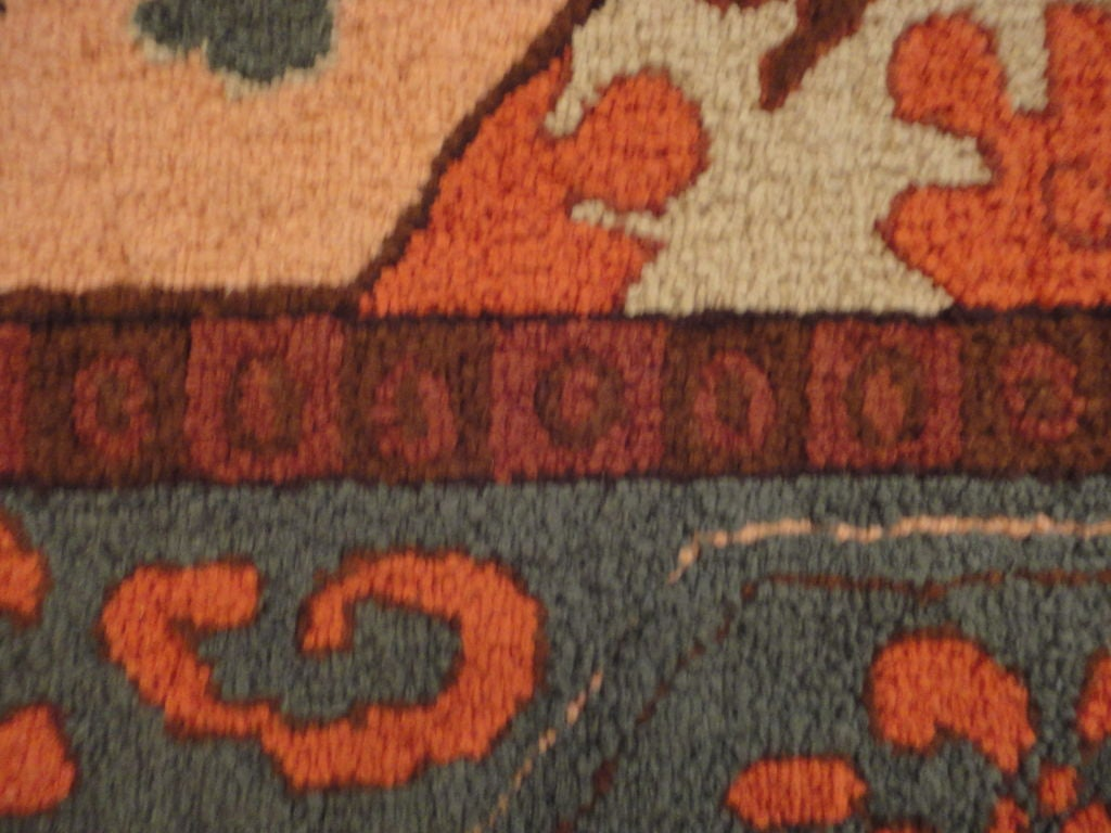Wool Fantastic and Colorful Mounted Hand-Hooked Rug from Lancaster, PA For Sale