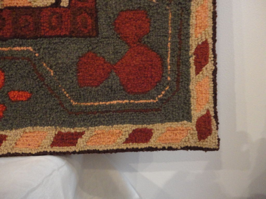 Fantastic and Colorful Mounted Hand-Hooked Rug from Lancaster, PA For Sale 1