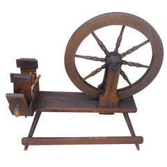 Early 18th Century Original Red Painted Spinning Wheel from New England