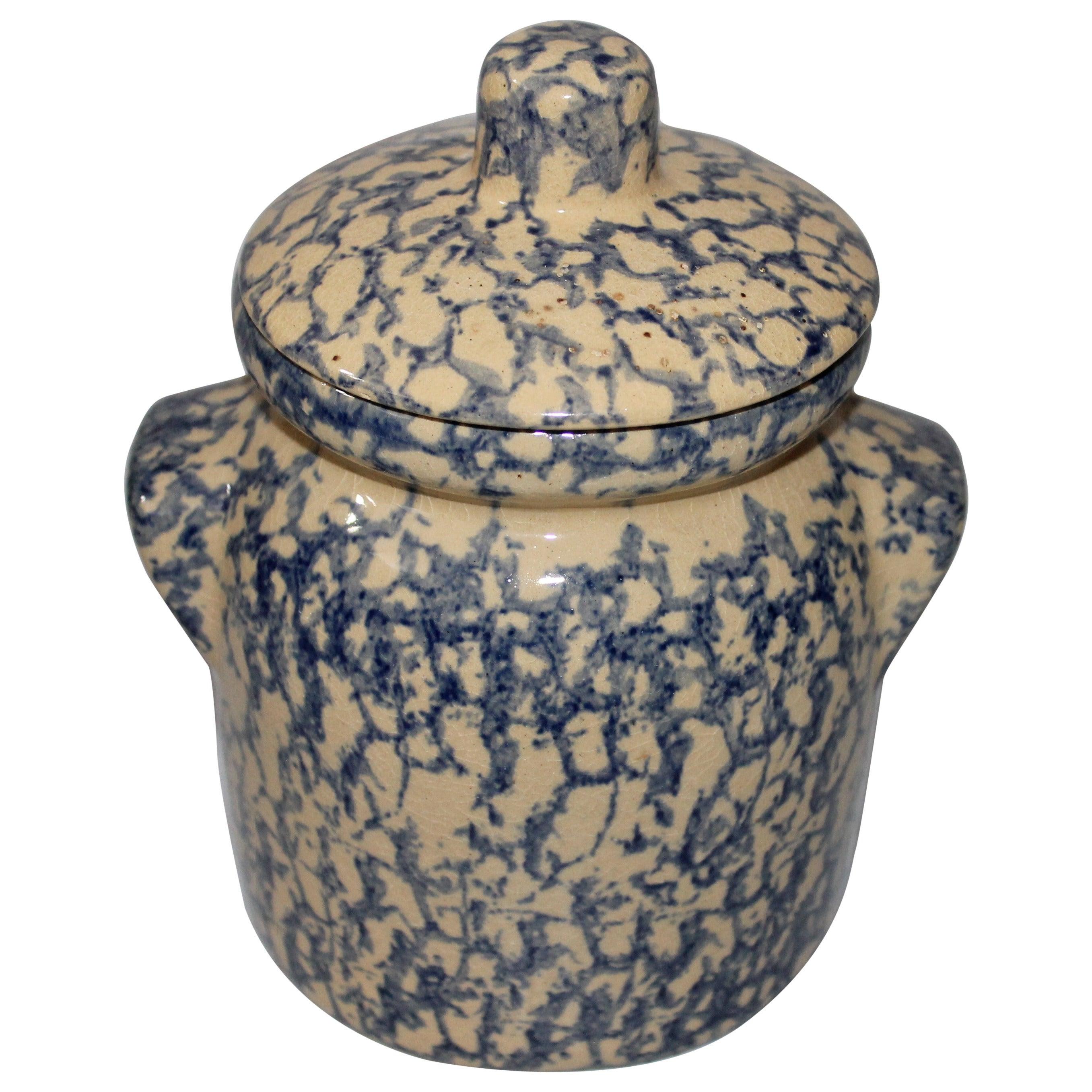 Early 20th Century Spongeware Canister Jar