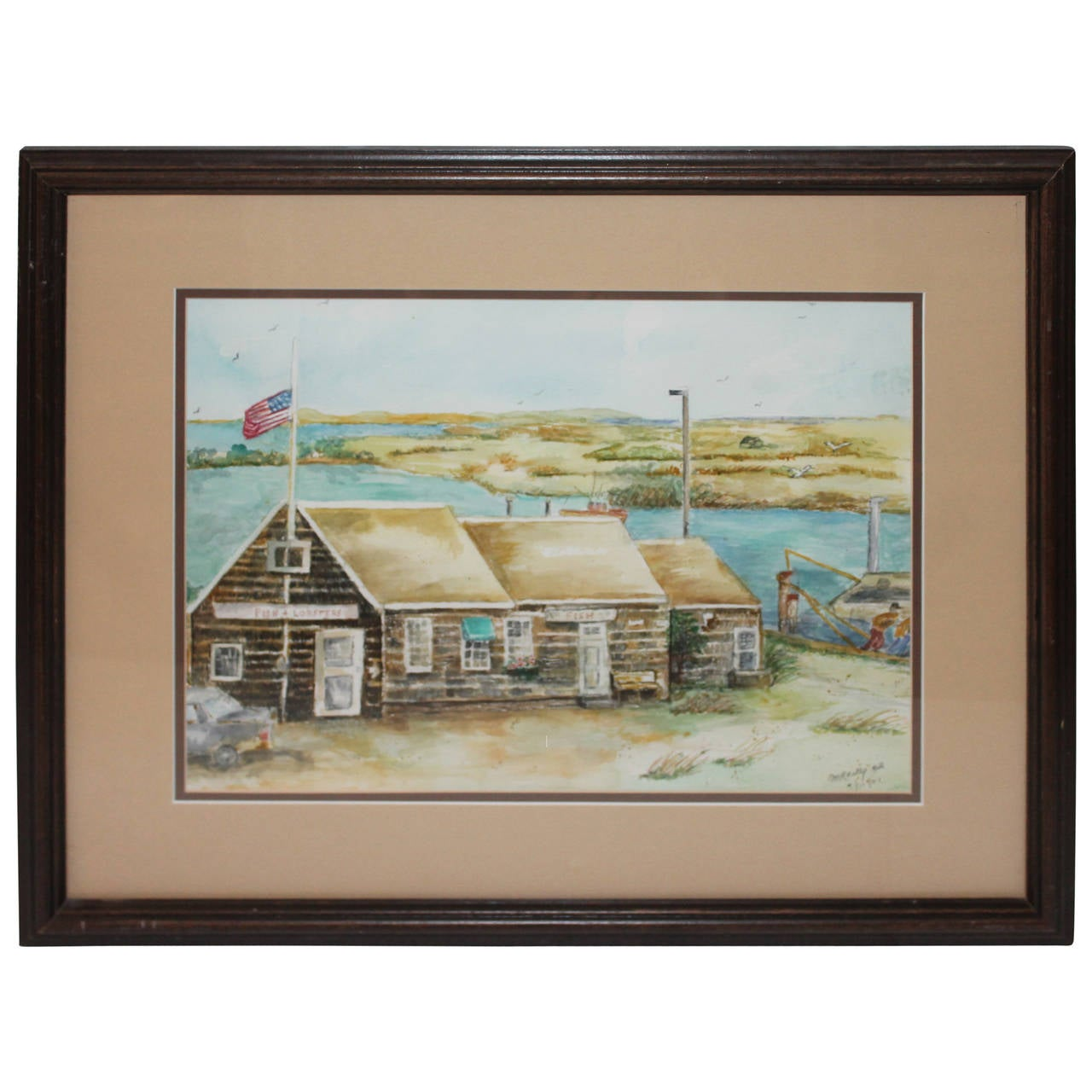 Fantastic Signed and Dated Water Color from Maine