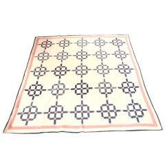 19thc Blue & White W/ Pink Calico Prints  Geometric Quilt