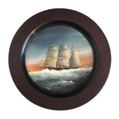 Signed 19thc Nautical Painting On Copper In Original Frame