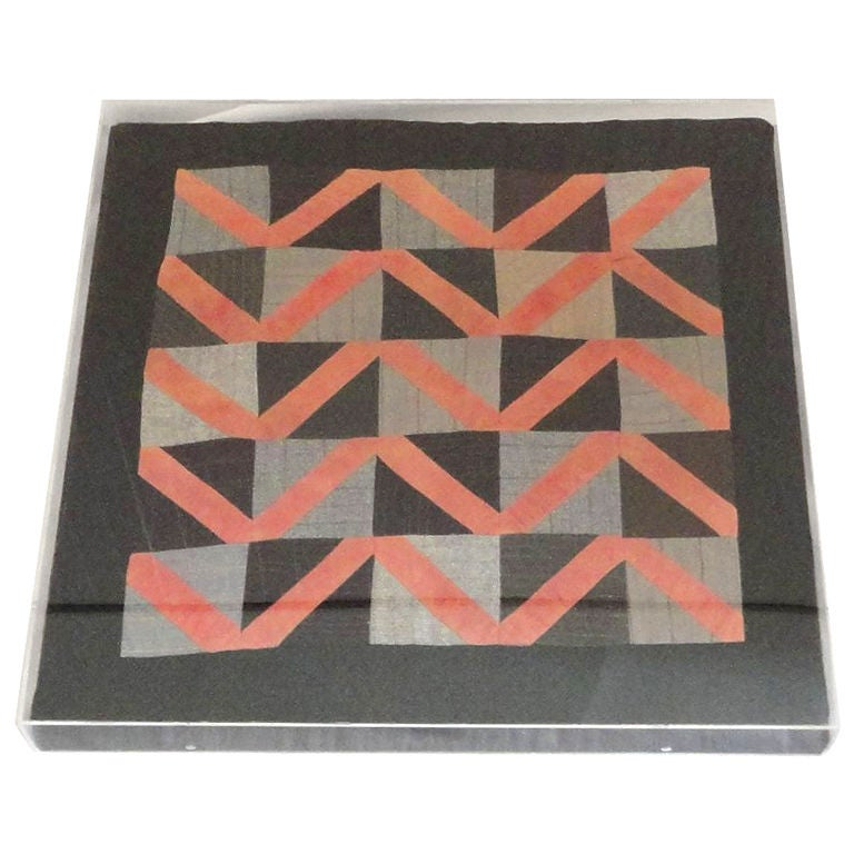 1930s Amish Wool Doll Quilt in Plexy Frame in a Zig Zag Pattern