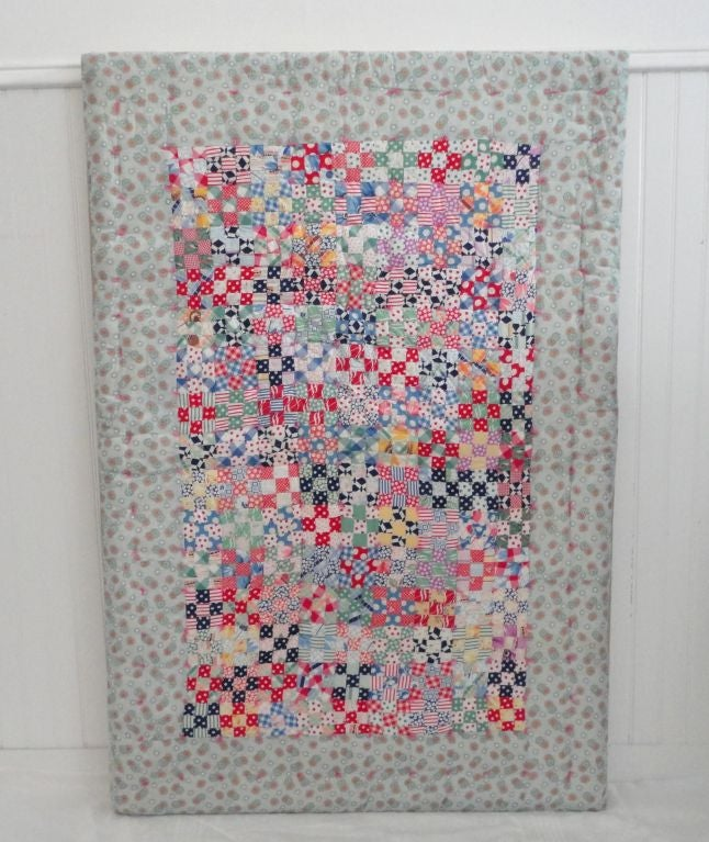 Folk Art Fantastic Mounted Postage Stamp Crib Quilt from Pennsylvania For Sale
