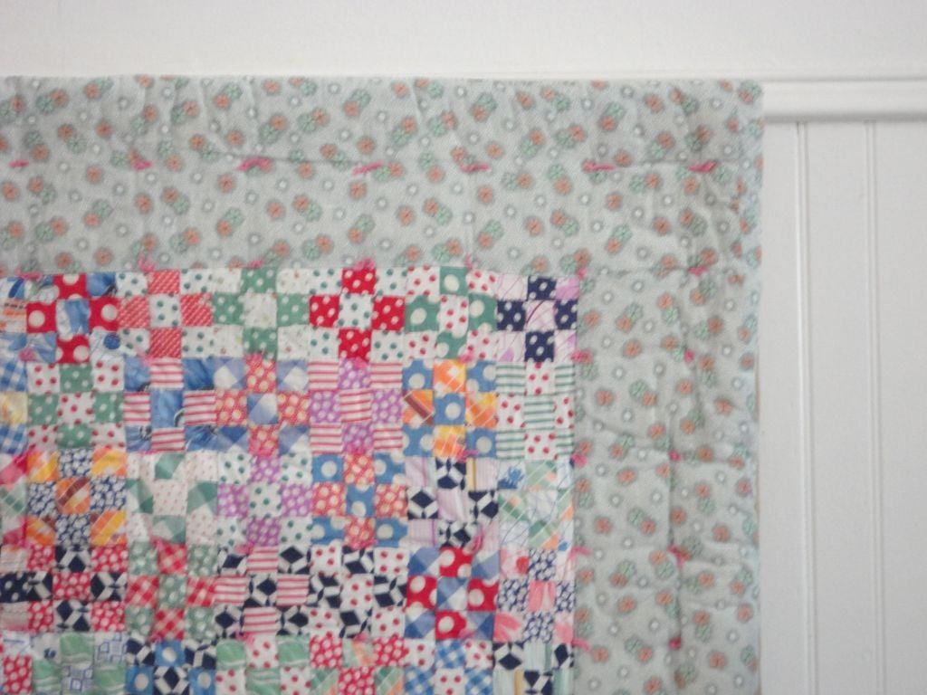 American Fantastic Mounted Postage Stamp Crib Quilt from Pennsylvania For Sale