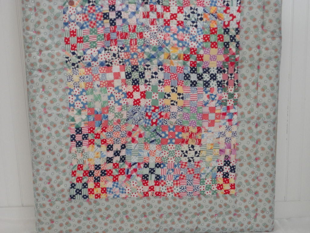 Fantastic Mounted Postage Stamp Crib Quilt from Pennsylvania In Good Condition For Sale In Los Angeles, CA