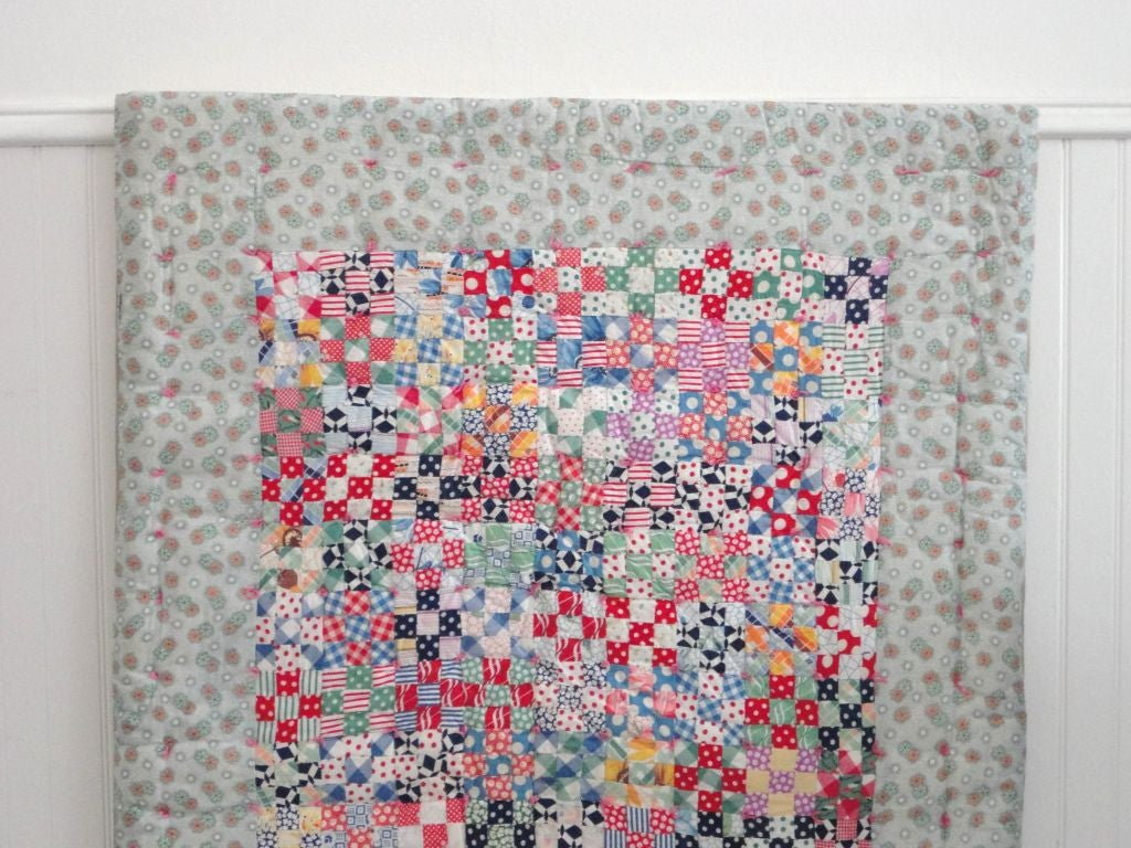 Mid-20th Century Fantastic Mounted Postage Stamp Crib Quilt from Pennsylvania For Sale