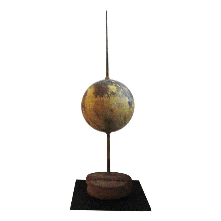 Rare 19th Century Large Original Painted Lightning Rod on Stand