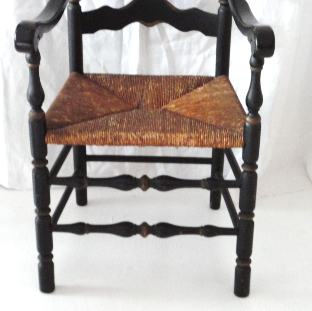 This Wonderful Form 19th Century Ladder Back Chair Retains The Original  Black Painted Surface And Has