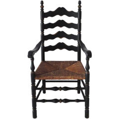 19th Century Original Black Painted Ladder Back Chair from New England