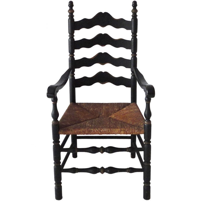 19th Century Original Black Painted Ladder Back Chair From