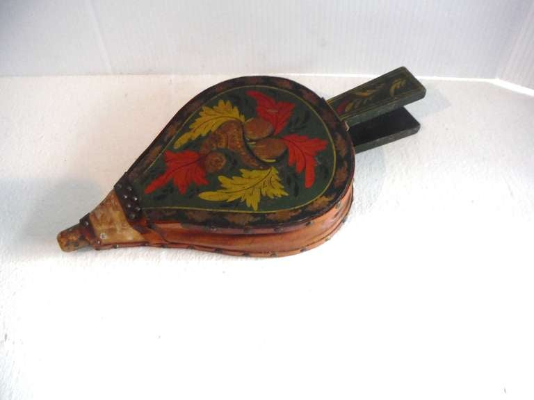 Fantastic 19th Century Paint Decorated New England Bellows 5