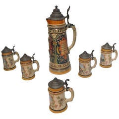 19th Century German Six-Piece Beer Stein Collection
