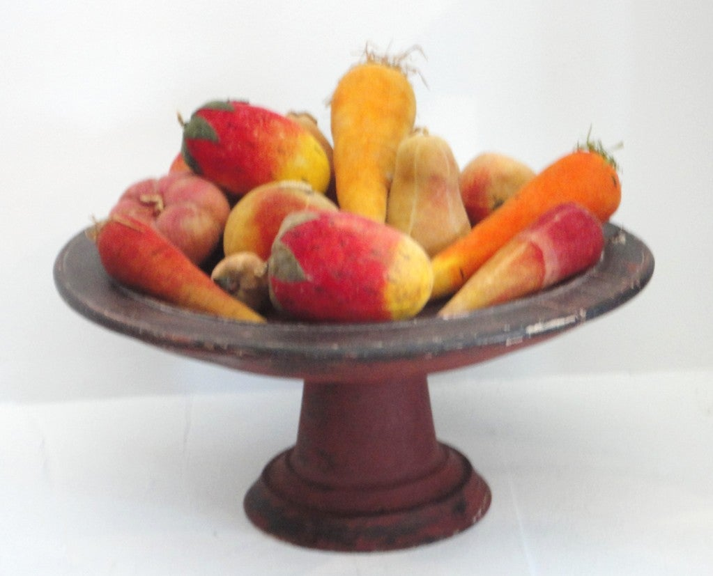 Rare Collection Of Velvet Fruit On 19thc Red Painted Wood Stand 2