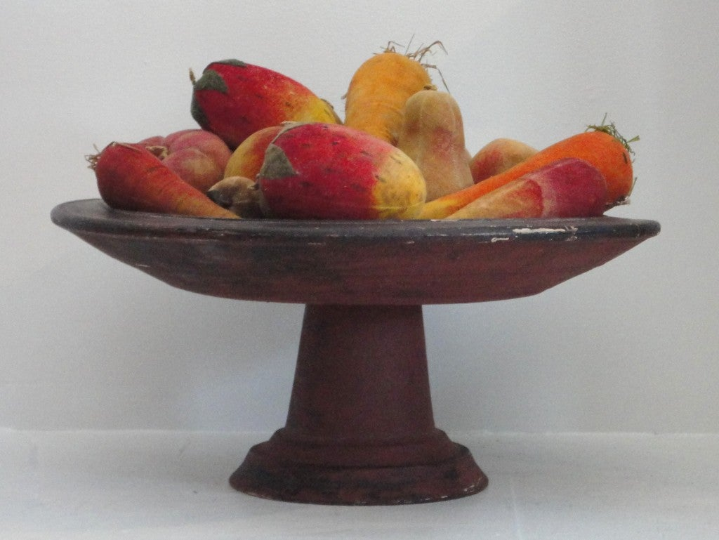 Rare Collection Of Velvet Fruit On 19thc Red Painted Wood Stand 3