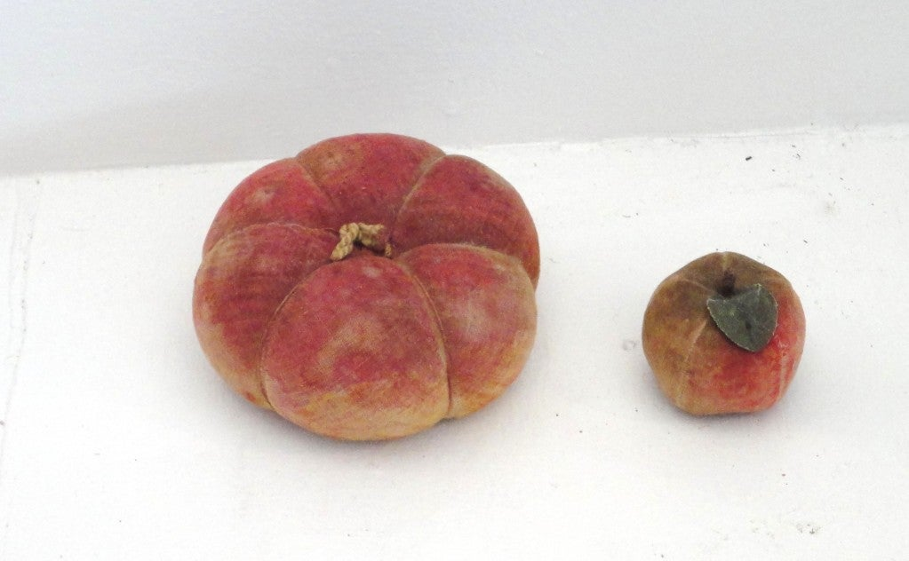 Rare Collection Of Velvet Fruit On 19thc Red Painted Wood Stand 7