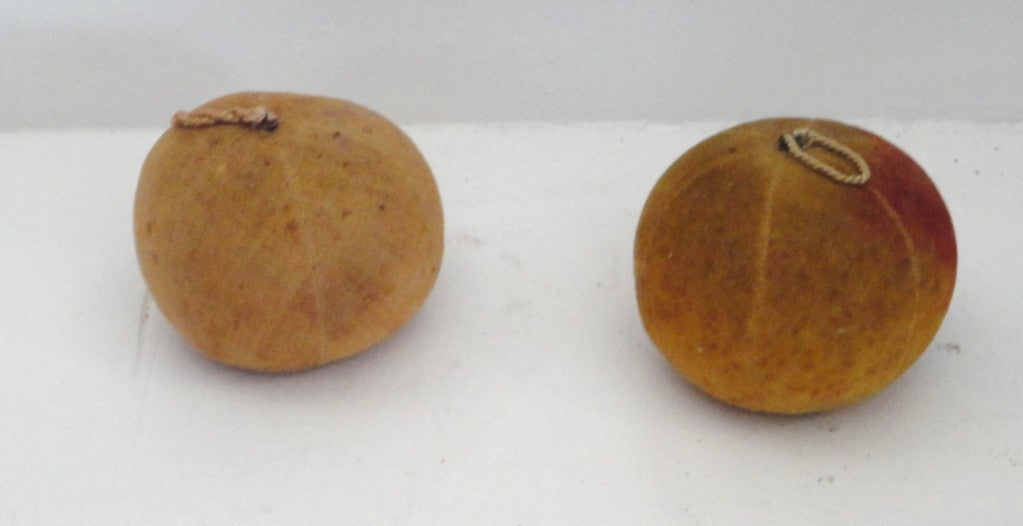 Rare Collection Of Velvet Fruit On 19thc Red Painted Wood Stand 8