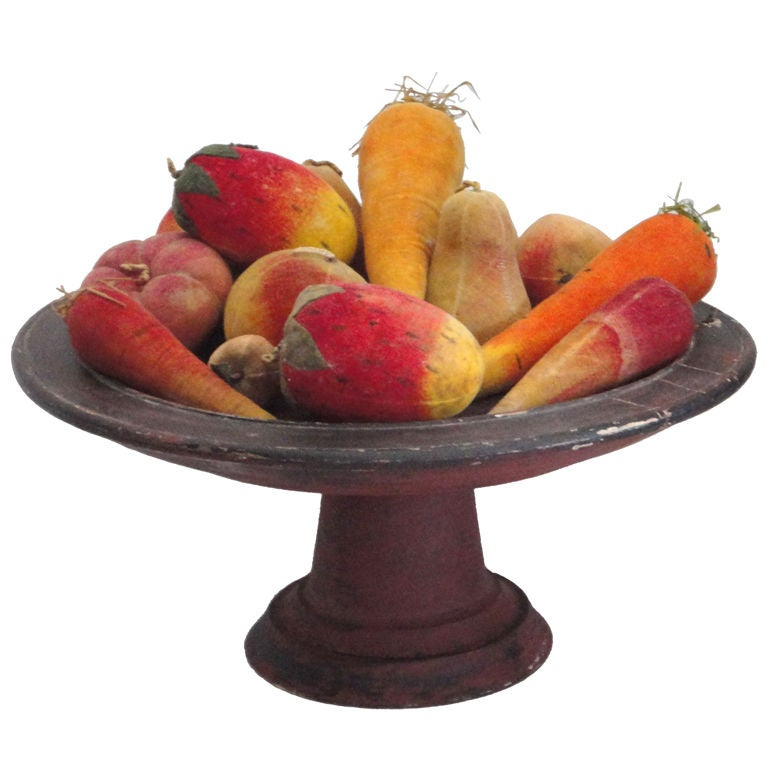 Rare Collection Of Velvet Fruit On 19thc Red Painted Wood Stand