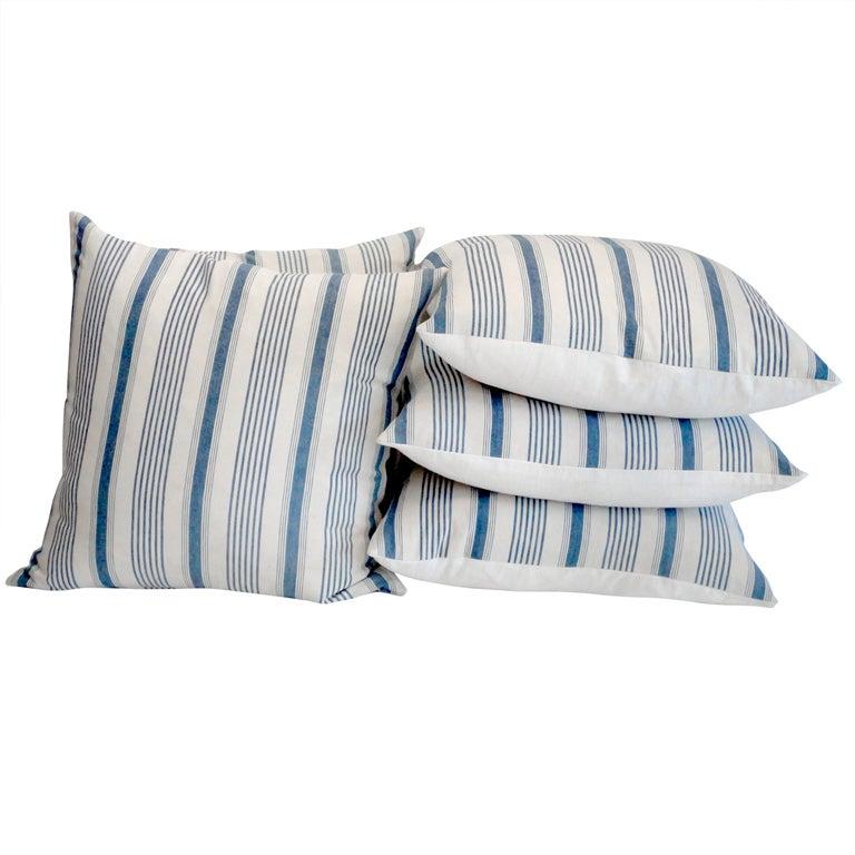 Fantastic 19thc Light Blue and White ticking Pillows w/Linen Back at 1stdibs