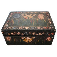 Fantastic 19thc Paint Decorated Floral Jewery Box