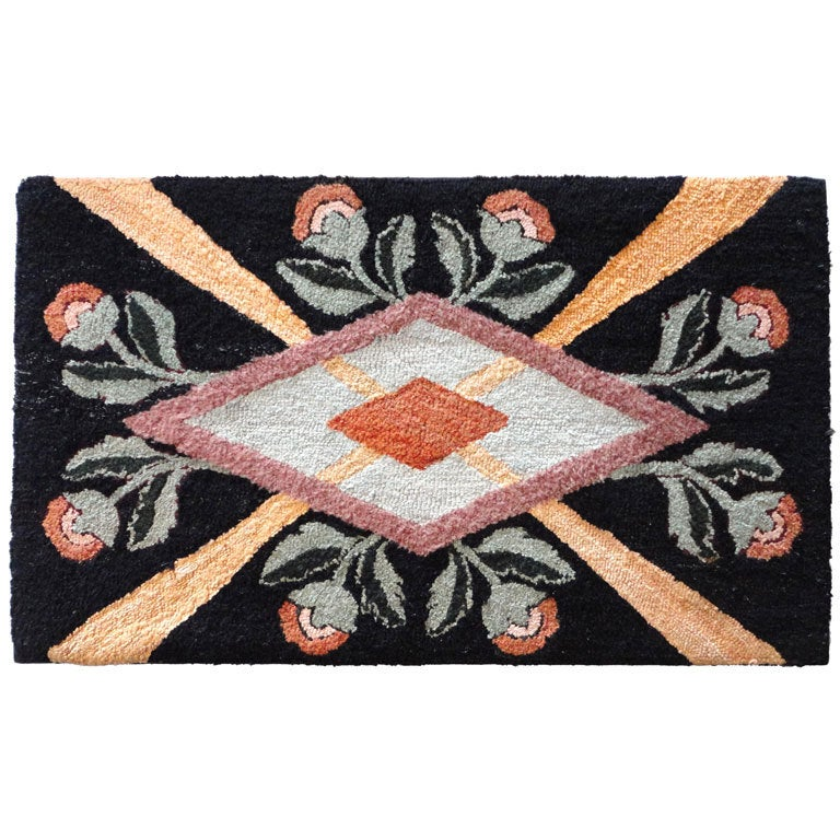 Fantastic Floral and Graphic Mounted Hand-Hooked Rug
