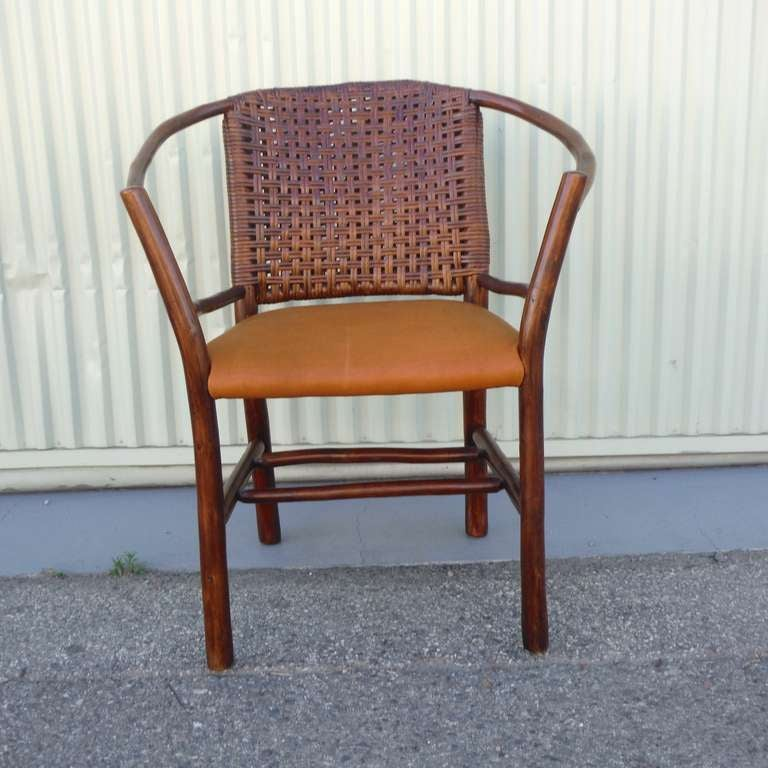 1930 S Old Hickory Barrel Back Side Chair W Leather Seat