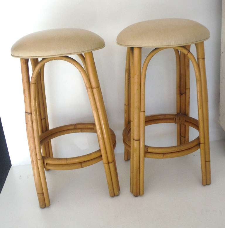 Fantastic Pair Of Bamboo Bar Stools W Leather Seats At 1stdibs
